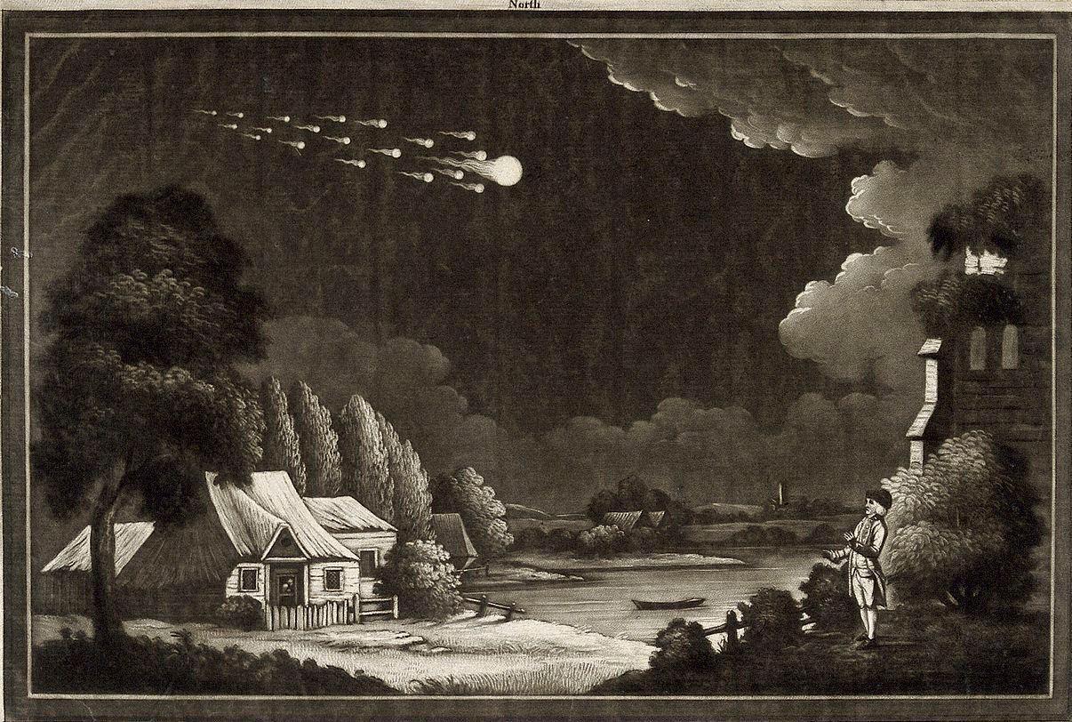 O evento da chuva de meteoritos em L'Aigle não foi representado artisticamente na época. Esta imagem é uma representação artística de um meteoro passando pelas Ilhas Britânicas, em 1783. Fonte: Smithsonian Magazine, abril de 2017.
