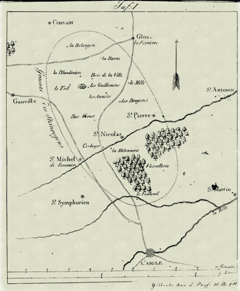Mapa de dispersão dos meteoritos de L'Aigle feitos por Jean-Baptiste Biot. Fonte: fallingrocks.com