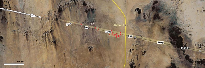 Imagem de satélite da trajetória do asteroide 2008 TC3 sobre o Deserto de Núbia, norte do Sudão. A seta branca aponta para a direção em que o objeto se desloca. Em amarelo, marca o caminho dos trilhos de trem que deram nome ao meteorito, Estação 6, em árabe. Os pontos vermelhos indicam os locais em que foram encontrados os meteoritos. Fonte: Jenniskens et al., 2009