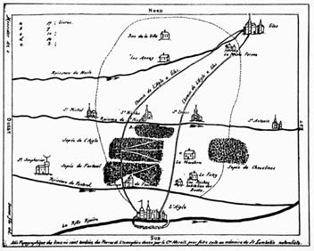 Primeiro mapa de dispersão de meteoritos em uma região de queda, feito por Marais, cidadão de L'Aigle. Fonte: astrosurf.com
