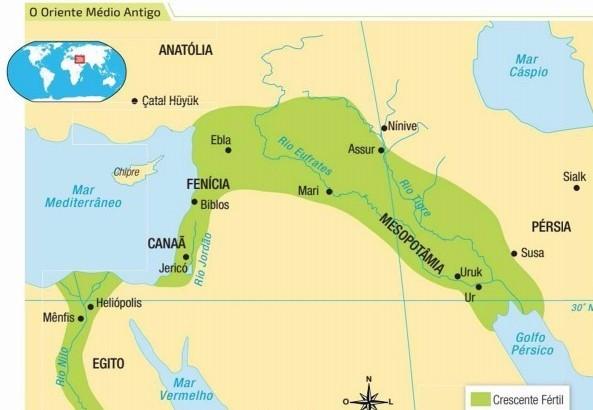 Mapa da região do Antigo Oriente Próximo evidenciando as áreas do Crescente Fértil e as importantes e mais antigas cidades de Ur e Uuk. (Conhecimentocientifico.R7.com)