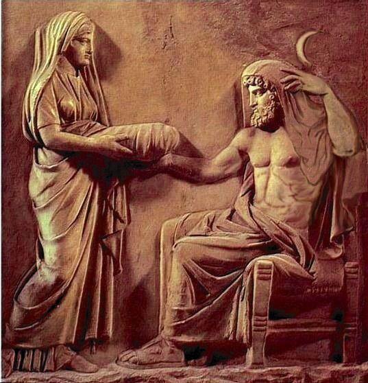 Reia entregando uma pedra enrolada em um pano para salvar seu filho Zeus de ser engolido pelo seu pai Cronos. Fonte. Pinterest.com