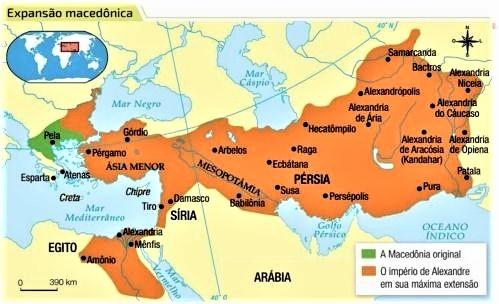 Em verde, a região da Macedônia antes das conquistas de Felipe II e seu filho Alexandre, o Grande. Em laranja os territórios do Império Macedônico. Fonte. Pinterest.com