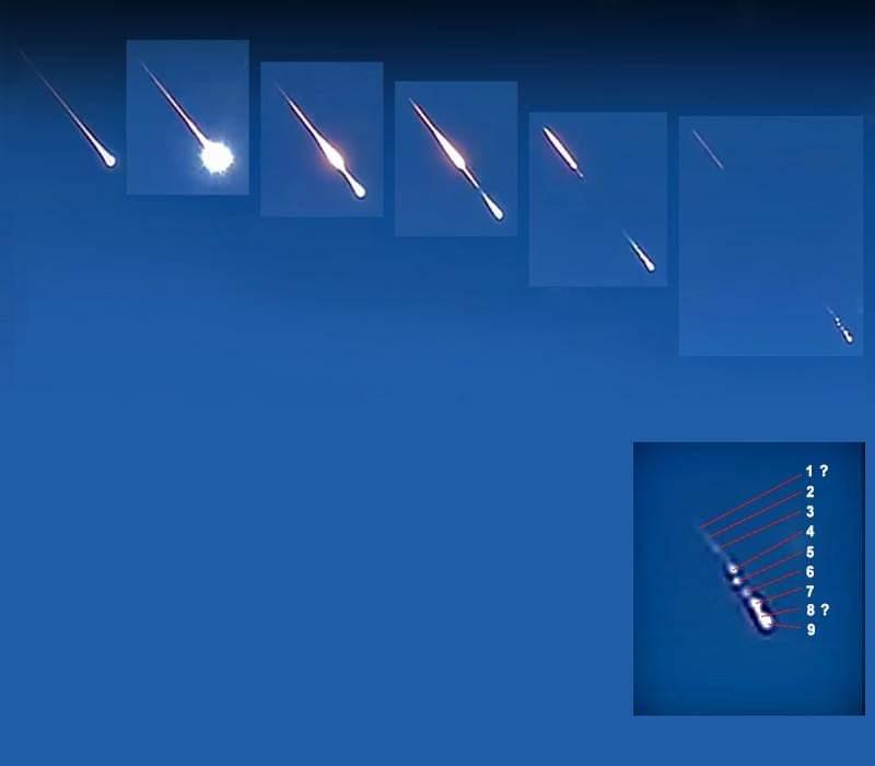 Esta série de fotos, do vídeo da dashcam de Zagreb, mostra claramente a fragmentação do meteoro em voo. Imagem fornecida por Zsolt Kereszty, presidente da Sociedade Meteorítica da Hungria.