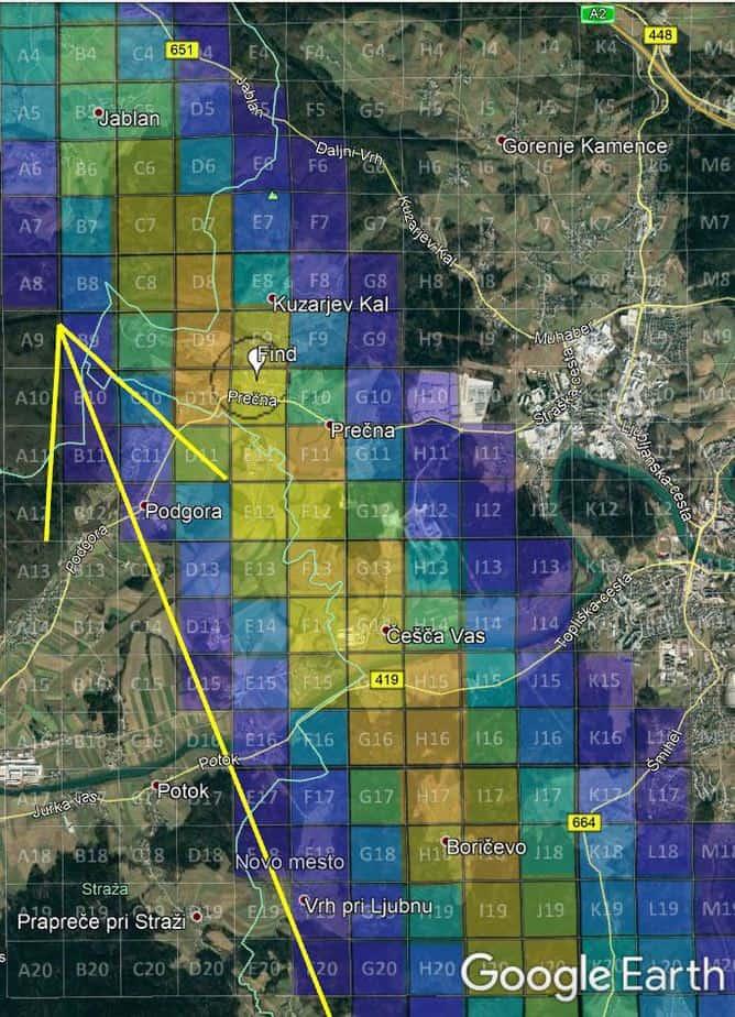 Mapa de pesquisa de probabilidade de queda do Novo Mesto (StrewnLAB).