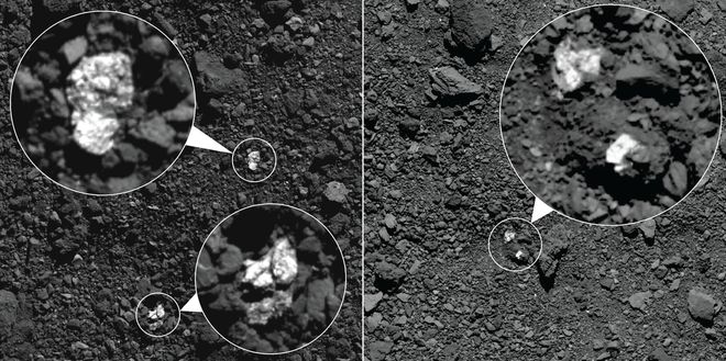 Fragmentos de um corpo diferenciado, possivelmente do asteroide Vesta, encontrados na superfície de Bennu. Crédito: NASA (Goddard - University of Arizona).